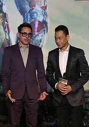 Cast members Robert Downey Jr. (L) and Wang Xueqi attend a promotional event of Hollywood superhero movie Iron Man 3 before its release in China in early May, in Beijing, capital of China, April 6, 2013. Photo by Imago / i-Images...UK ONLY.
