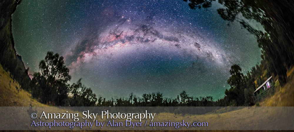 A 270&deg; nightscape panorama of the Milky Way from Carina (at right) to Scutum (at left) arching over the paddock next to the Tibuc Gardens Cottage near Coonabarabran, NSW, Australia, on April 12, 2016. The Dark Emu is visible in its entirety, from the head in Crux at right to his feet in Scutum at left. Scorpius with Mars and Saturn are at top left. Some green airglow tints the horizon. The ground is illuminated only by starlight.<br /> <br /> This is a stitch of 6 panels, each 2.5-minute exposures, all tracked on the iOptron Sky Tracker, with the 15mm full-frame fish eye lens (in portrait orientation) at f/2.8 and filter-modified Canon 5D MkII at ISO 3200. The sky is not trailed but the tracking has blurred the ground slightly. Stitched in PTGui software with fish-eye projection.