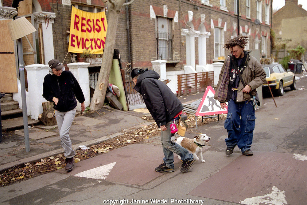 Squatters on street outside temporary squatted  homes in  Saint Agnes Place Kennington South London.