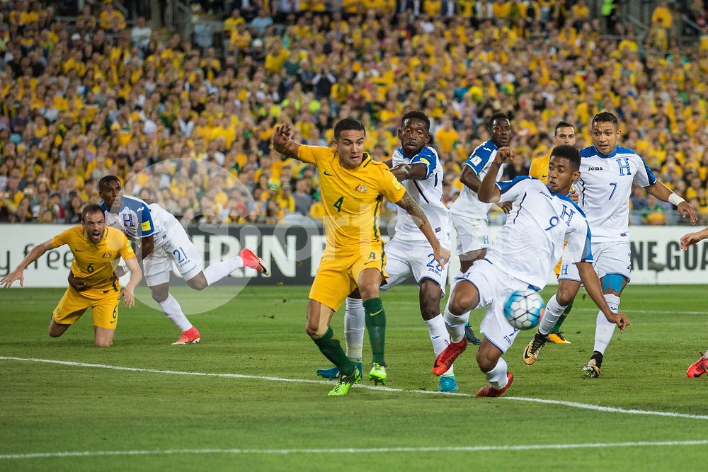 Tim Cahill of Australia during the 2018 FIFA World Cup CONCACAF/AFC Intercontinental Play-Off match between Australia and Honduras at Stadium Australia, Sydney, Australia on 15 November 2017. Photo by Peter Dovgan.