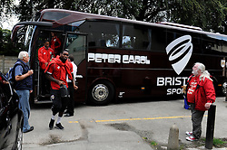 Players arrive at Rochdale, Spotland Stadium - Photo mandatory by-line: Dougie Allward/JMP - Mobile: 07966 386802 23/08/2014 - SPORT - FOOTBALL - Manchester - Spotland Stadium - Rochdale AFC v Bristol City - Sky Bet League One