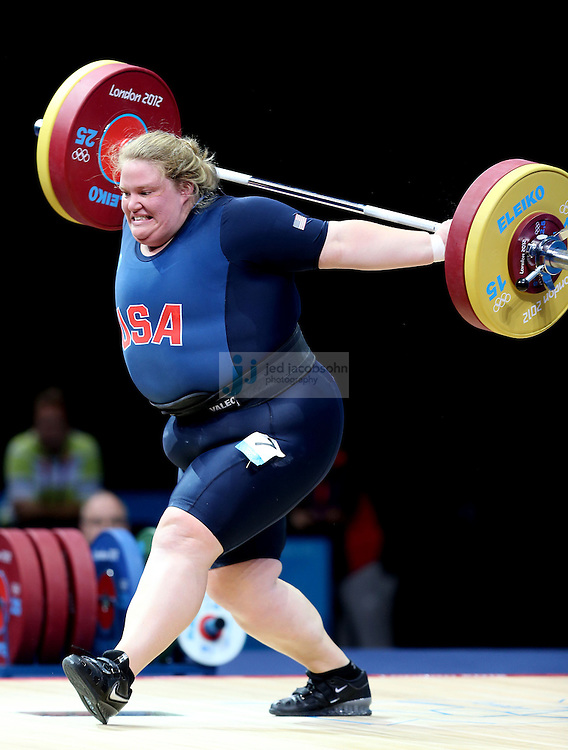 Holley Mangold of the USA lifts during the 75+kg weightlifting competition at the Excel center during day 9 of the London Olympic Games in London, England, United Kingdom on August 3, 2012..(Jed Jacobsohn/for The New York Times)..