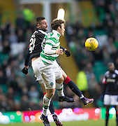 Dundee's Marcus Haber and Celtic's Erik Sviatchenko - Celtic v Dundee in the Ladbrokes Scottish Premiership at Celtic Park, Glasgow. Photo: David Young<br /> <br />  - © David Young - www.davidyoungphoto.co.uk - email: davidyoungphoto@gmail.com