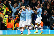 Manchester City forward Sergio Aguero (10) celebrates his goal 2-1 d during the Champions League match between Manchester City and Atalanta at the Etihad Stadium, Manchester, England on 22 October 2019.