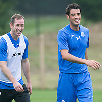 St Johnstone Training....12.09.14<br /> Brian Graham and Frazer Wright pictured in training this morning ahead of tomorrow's game at home to Dundee.<br /> Picture by Graeme Hart.<br /> Copyright Perthshire Picture Agency<br /> Tel: 01738 623350  Mobile: 07990 594431