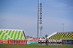 LARNACA, CYPRUS - Wednesday, March 7, 2018: Wales and Austria players stand for a minute's silence for the former President of the Cyprus Football Association during the Cyprus Women's Cup match between Austria and Wales on day nine of the Cyprus Cup tournament at the AEK Arena - Georgios Karapatakis. (Pic by David Rawcliffe/Propaganda)