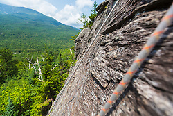 Climbing rope on the cliff on Square Ledge in New Hampshire's White Mountains.