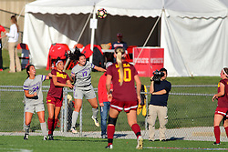 04 November 2016:  Colleen Dierkes(24), Sienna Cruz(11), Jess O'Shaughnessy(170 and Ashley Bovee(10) during an NCAA Missouri Valley Conference (MVC) Championship series women's semi-final soccer game between the Loyola Ramblers and the Evansville Purple Aces on Adelaide Street Field in Normal IL