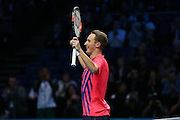 Henri Kontinen (Finland) celebrates victory during the final of the Barclays ATP World Tour Finals at the O2 Arena, London, United Kingdom on 20 November 2016. Photo by Phil Duncan.