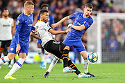 Valencia CF midfielder Francis Coquelin (17) and Chelsea midfielder Jorginho (5) tussle over the ball during the Champions League match between Chelsea and Valencia CF at Stamford Bridge, London, England on 17 September 2019.