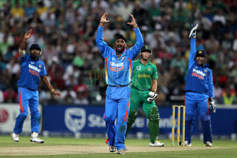 Harbhajan Singh of India appeals for the wicket of Colin Ingram during the 2nd ODI between South Africa and India held at Wanderers Stadium in Johannesburg, South Africa on the 15th January 2011..Photo by Ron Gaunt/BCCI/SPORTZPICS