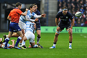 Gonzalo Bertranou passes down the line during the Autumn Test match between Scotland and Argentina at Murrayfield, Edinburgh, Scotland on 24 November 2018.