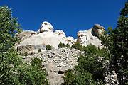 Granite Sculpture of Four US Presidents at Mount Rushmore National Memorial