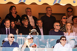 Nicolas Sarkozy and Valeria Bruni-Tedeschi's daughter Celine Garrel attend the match Rafael Nadal vs Grigor Dimitrov (6-4, 6-1) during the Monte Carlo Rolex Masters at the Country Club of Monaco. In the photo Sarkozy is with his lawyer Thierry Herzog and Dmitrij Rybolovlev.Monaco on april 21th, 2018. Photo by ABACAPRESS.COM