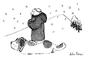 (A monk stands on a St Bernard's back in order to avoid trudging through the snow)