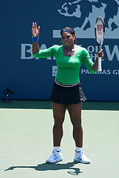July 31, 2011; Stanford, CA, USA;  Serena Williams (USA) reacts after a point against Marion Bartoli (FRA), not pictured, during the finals of the Bank of the West Classic women's tennis tournament at the Taube Family Tennis Stadium.