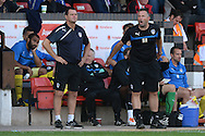 Richard Hall, Assistant Manager of Colchester United and Tony Humes, Manager of Colchester United provide instructions from the touchline in their first game in-charge during the Sky Bet League 1 match between Walsall and Colchester United at the Banks's Stadium, Walsall<br /> Picture by Richard Blaxall/Focus Images Ltd +44 7853 364624<br /> 06/09/2014