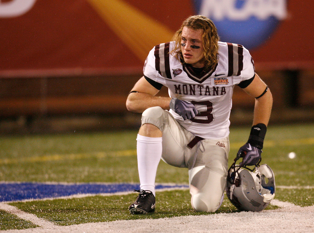 CHATTANOOGA, TN - DECEMBER 18:  Wide receiver Sam Gratton #8 of the Montana Grizzlies watches the celebration on the field after the NCAA FCS Championship game against the Villanova Wildcats at Finley Stadium on December 18, 2009 in Chattanooga, Tennessee.  The Wildcats beat the Grizzlies 23-21.  (Photo by Mike Zarrilli/Getty Images)