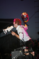Arcade Fire performing at the  Coachella Valley Music and Arts Festival at the Empire Polo Fields  2007 in Indio California on April 28, 2007. ..Richard Reed Parry -redheaded male with glasses on left of stage synth, megaphone, percussion