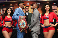 March 6, 2019; New York, NY, USA; WBO super lightweight champion Maurice Hooker and challenger Mikkel LesPierre pose after the final press conference for their March 9, 2019 fight at the Turning Stone Resort and Casino in Verona, NY.  Mandatory Credit: Ed Mulholland/Matchroom Boxing USA
