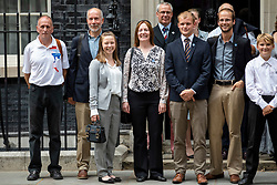 © Licensed to London News Pictures. 24/07/2018. London, UK. British diver Vern Unsworth (L), who played a leading role in the operation to rescue a group of boys trapped in a cave in Thailand, arrives on Downing Street for a reception with the Prime Minister. Photo credit: Rob Pinney/LNP