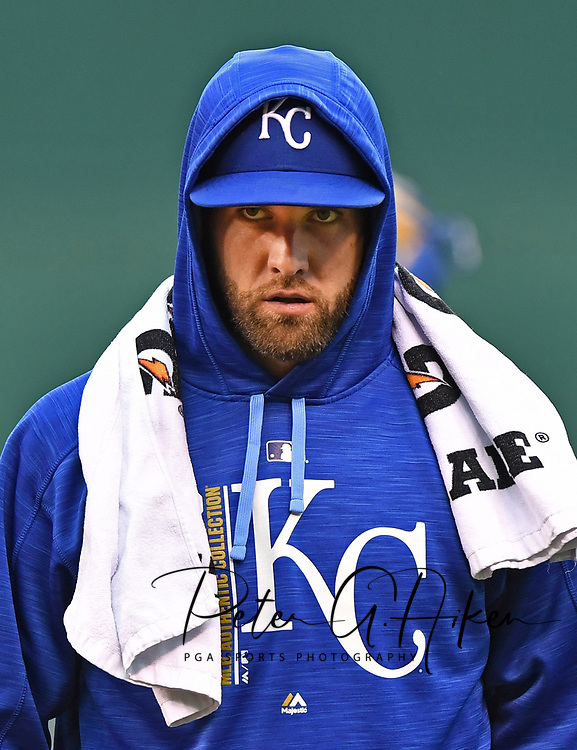 Kansas City Royals pitcher Danny Duffy (41) walks to the dugout prior to the start of the game against the New York Yankees at Kauffman Stadium.