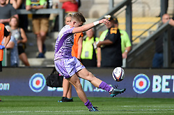 Sam Morley of Exeter Chiefs drops kicks the ball to level the scores against Worcester Warriors - Mandatory byline: Patrick Khachfe/JMP - 07966 386802 - 14/09/2019 - RUGBY UNION - Franklin's Gardens - Northampton, England - Premiership Rugby 7s (Day 2)
