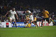 England's Wing Anthony Watson on his way to score a try during the Rugby World Cup Pool A match between England and Australia at Twickenham, Richmond, United Kingdom on 3 October 2015. Photo by Matthew Redman.