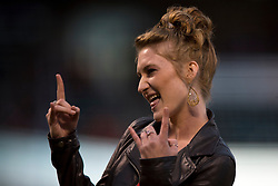 SAN FRANCISCO, CA - SEPTEMBER 09: Stevie Rae Stephens gestures after performing the national anthem before the game between the San Francisco Giants and the Colorado Rockies at AT&T Park on September 9, 2013 in San Francisco, California. The San Francisco Giants defeated the Colorado Rockies 3-2 in 10 innings. (Photo by Jason O. Watson/Getty Images) *** Local Caption *** Stevie Rae Stephens
