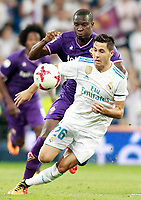 Real Madrid's Alvaro Tejero (r) and ACF Fiorentina's Khouma Babacar during Santiago Bernabeu Trophy. August 23,2017. (ALTERPHOTOS/Acero)