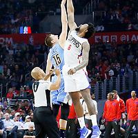 24 February 2016: Jump ball between Denver Nuggets center Nikola Jokic (15) and Los Angeles Clippers center DeAndre Jordan (6) during the Denver Nuggets 87-81 victory over the Los Angeles Clippers, at the Staples Center, Los Angeles, California, USA.