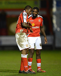 Crewe's Uche Ikpeazu celebrates scoring the third goal with team-mate Anthony Grant - Photo mandatory by-line: Richard Martin-Roberts - Mobile: 07966 386802 - 10/01/2015 - SPORT - Football - Crewe - Alexandra Stadium - Crewe Alexandra v Gillingham - Sky Bet League One