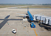 Tan Son Nhat Airport. Vietnam Airlines Airbus A320 from Ho Chi Minh City (Saigon) to Bangkok.