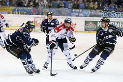 30.11.2014, Saturn Arena, Ingolstadt, GER, DEL, ERC Ingolstadt vs Eisbären Berlin, 22. Runde, im Bild Michel Periard (Nr.6, ERC Ingolstadt), Darin Olver (Nr.40, Eisbaeren Berlin) und Benedikt Kohl (Nr.34, ERC Ingolstadt)<br />ERC Ingolstadt vs Eisbaeren Berlin, Eishockey, DEL, Deutsche Eishockey Liga, Spieltag 22, 30.11.2014,, Foto: Eibner // during Germans DEL Icehockey League 22nd round match between ERC Ingolstadt and Eisbären Berlin at the Saturn Arena in Ingolstadt, Germany on 2014/11/30. EXPA Pictures © 2014, PhotoCredit: EXPA/ Eibner-Pressefoto/ Strisch<br /> <br /> *****ATTENTION - OUT of GER*****