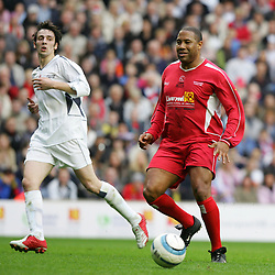 LIVERPOOL, ENGLAND - SUNDAY MARCH 27th 2005: Liverpool Legends' John Barnes and Celebrity XI's Ralf Little during the Tsunami Soccer Aid match at Anfield. (Pic by David Rawcliffe/Propaganda)