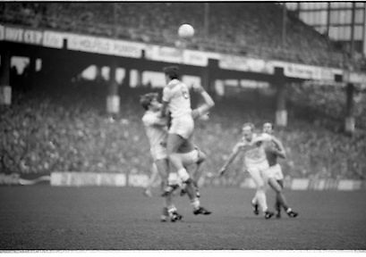 The All Ireland Senior Football Final.1982.19.09.1982.09.19.1982.19th September 1982..The senior final was contested between Offaly and Kerry. Offaly won the title by the narrowest of margins 1.15 to 17 points..S.Lowry goes highest for the ball in this aerial battle.