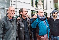 James Matthews (second from left), 43, arrives at Westminster Magistrates Court where he faces a charge of attending a place used for terrorist training, under the Terrorism Act 2006, after fighting against ISIS with the Kurdish YPG militia. London, February 14 2018.