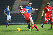 Jordan Williams fouls Jon Guthrie during the EFL Sky Bet League 1 match between Rochdale and Walsall at Spotland, Rochdale, England on 23 December 2017. Photo by Daniel Youngs.