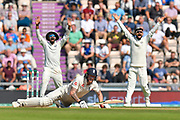 Ben Stokes of England is knocked off his feet by a yorker from Ishant Sharma of India and the slip fielder appeal for an LBW which is given not out during the 3rd day of the 4th SpecSavers International Test Match 2018 match between England and India at the Ageas Bowl, Southampton, United Kingdom on 1 September 2018.