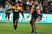 Mils Muliaina and Sona Taumalolo after there win during the Investec Super 15 Rugby match, Chiefs v Stormers, at Waikato Stadium, Hamilton, New Zealand, Saturday 14 May 2011. Photo: Dion Mellow/photosport.co.nz