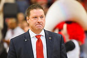 LUBBOCK, TX - MARCH 3: Head coach Chris Beard of the Texas Tech Red Raiders holds back tears during Senior Day activities before the game between the Texas Tech Red Raiders and the TCU Horned Frogs on March 3, 2018 at United Supermarket Arena in Lubbock, Texas. Texas Tech defeated TCU 79-75. Texas Tech defeated TCU 79-75. (Photo by John Weast/Getty Images) *** Local Caption *** Chris Beard