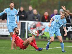 GARY STOHRER  KETTERING TOWN BATTLES WITH SLOUGHS MATTHEW LENCH, Kettering Town v Slough Town, Evostick South Premier League Latimer Park, Saturday 21st October 2017 Score 0-0 Att 824.