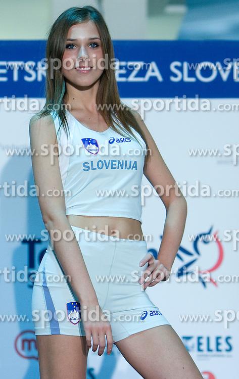 Model at fashion show of new jerseys of Slovenian Athletic National Team, on October 28, 2008, in Mercator center Siska, Ljubljana, Slovenia. (Photo by Vid Ponikvar / Sportal Images).