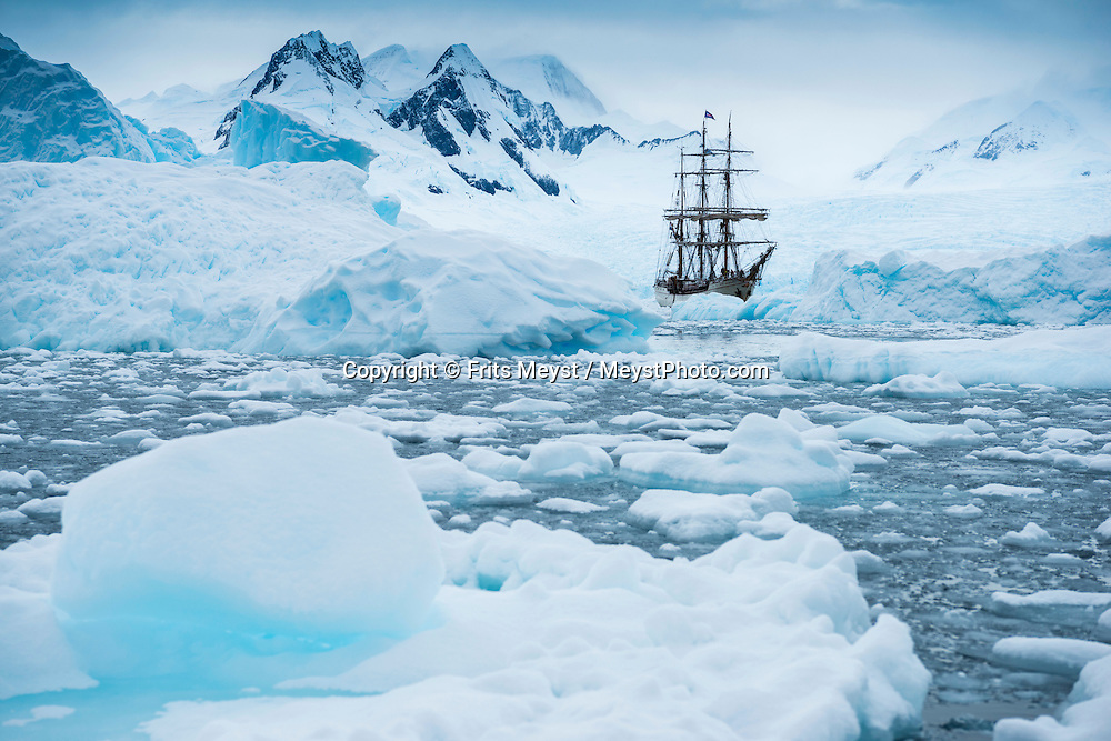 Antarctica, February 2016. Zodiac cruise through Cierva Cove, in Huges Bay, which is framed at its head by glacial front of the superb Brequet Glacier, and it's a place used by several species of seals to fish, hunt and rest on the ice floes. Dutch Tallship, Bark Europa, explores Antarctica during a 25 day sailing expedition. Photo by Frits Meyst / MeystPhoto.com