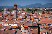 View from Torre Guinigi tower showing L to R Chiesa di San Michele, and Torre Del Ore, Lucca, Italy RESERVED USE - NOT FOR DOWNLOAD - FOR USE CONTACT TIM GRAHAM