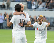 Los Angeles FC forward Latif Blessing (7) celebrates with teammates in the game against New York City in a MLS soccer match in Los Angeles, Sunday, May 13, 2018. The game ended in a 2-2 tie. (Ed Ruvalcaba/Image of Sport)