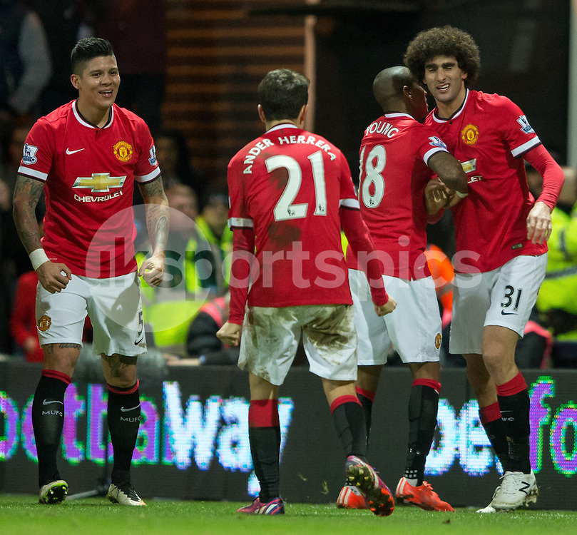 Manchester United's Marouane Fellaini and his manchester United teammates Ashley Young, Ander Herra & marcos Rojo are all smiles as they take a 2-1 lead during the The FA Cup match between Preston North End and Manchester United at Deepdale, Preston, England on 16 February 2015. Photo by James Williamson.