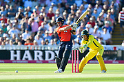 Jason Roy of England smashes the ball to the boundary during the International T20 match between England and Australia at Edgbaston, Birmingham, United Kingdom on 27 June 2018. Picture by Graham Hunt.