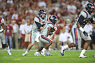 Ole Miss quarterback Bo Wallace (14) and Ole Miss running back Jeff Scott (3) vs. Alabama at Bryant-Denny Stadium in Tuscaloosa, Ala. on Saturday, September 29, 2012.
