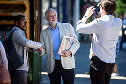 © Licensed to London News Pictures. 10/06/2017. London, UK. Leader of the Labour Party JEREMY CORBYN is greeted by a local resident and supporter near his London home. The Labour party made significant gains earlier this week in a general election The Conservative Party were expected to win comfortably. Photo credit: Ben Cawthra/LNP